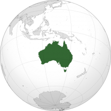 Orthographic map of Australia