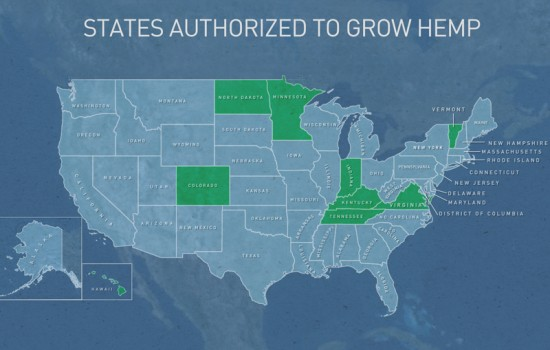The Drug Enforcement Administration told PBS NewsHour it has granted several dozen permits to grow hemp in nine states including Kentucky. Graphic by Lisa Overton/PBS NewsHour Weekend